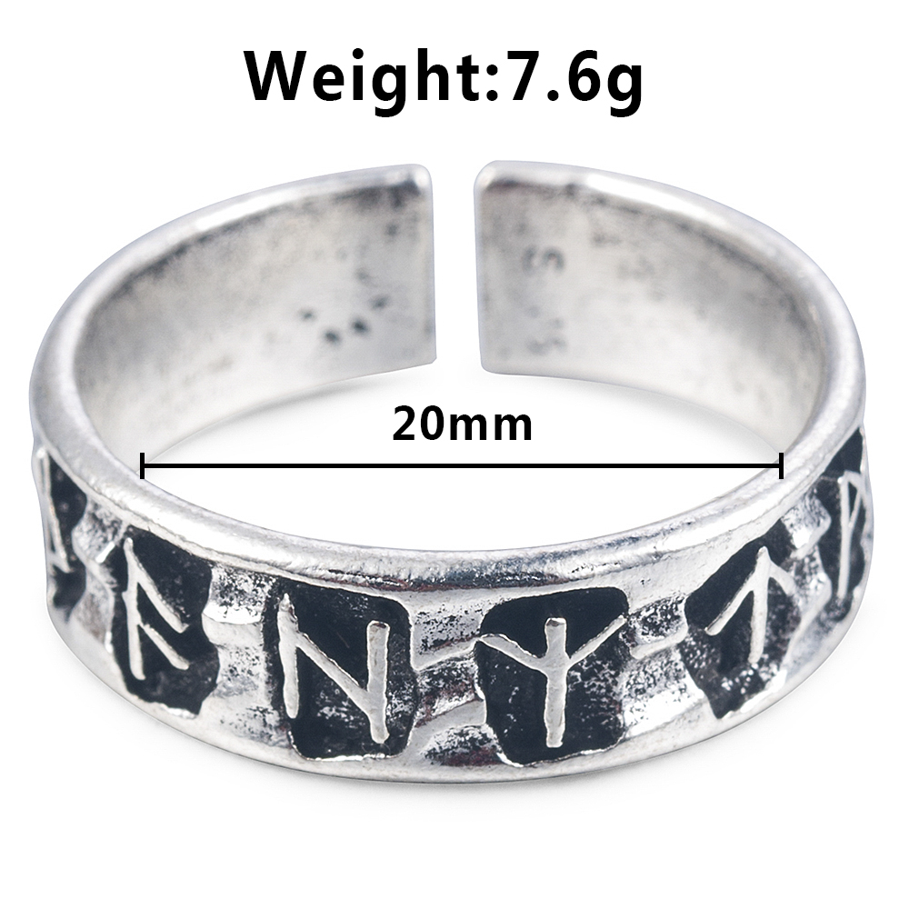 Punk Fashion Style Antique Retro Male Jewelry Viking Ring Female Black Amulet Vintage Norse Rune Rings For Women Men 5