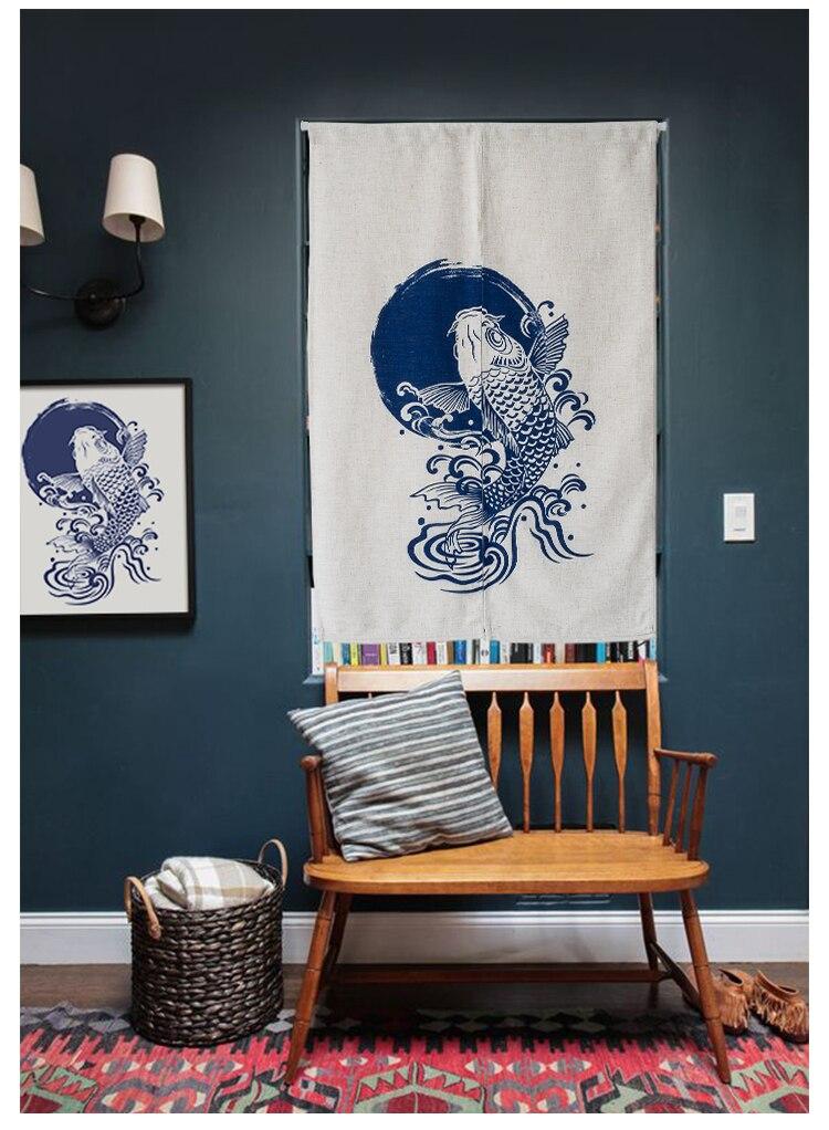 Style chinois carpe coton lin porte fenêtre rideau décoration de la maison chambre salon étude chambre ménage café maison
