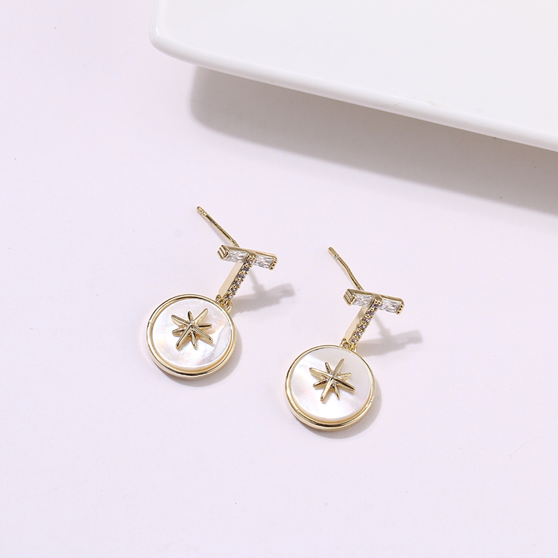 Yhpup Trendy Spike Star Copper Zirconia Natural Shell Dangle Earrings High Quality Charm Earrings Female Party Fashion Jewelry in Drop Earrings from Jewelry Accessories