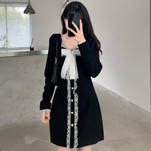 High Street Women Dress Spring Autumn The New Fashion Designer Hipster Thin Best Sellers Bow Lace Square Collar Long Sleeve