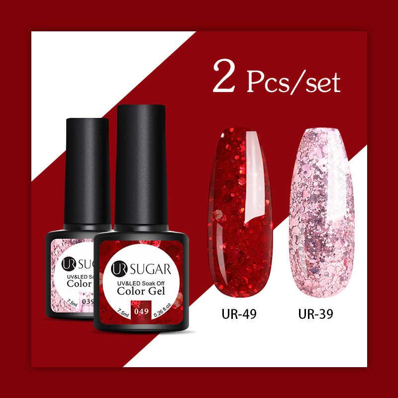 UR Gula 2/3 Pcs Glitter Gel Nail Polish Set Pink Payet Warna Semi Permanen LED Gel Varnish Rendam Off UV gel Pernis Kuku