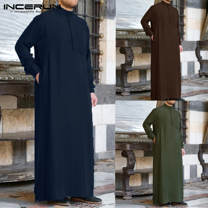 INCERUN Men Muslim Islamic Kaftan Arab Vintage Long Sleeve Men Thobe Robe Loose Dubai Saudi Arab Kaftan Men Clothing 2020 S-5XL