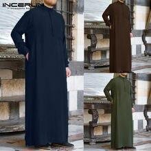 Incerun homem muçulmano islâmico kaftan árabe do vintage manga longa homem thobe robe solto dubai árabe saudita kaftan roupas masculinas 2021 s-5xl