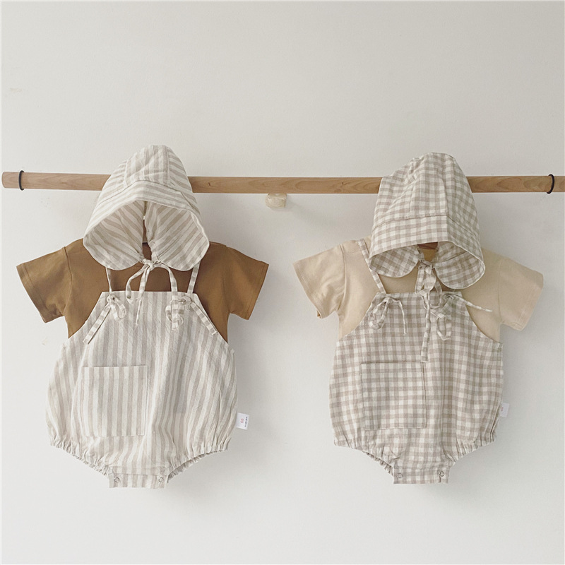 MILANCEL Baby Clothes Newborn Baby Boys Clothes Solid Tee And Plaid Bodysuits With Hat Infant Girl Clothing