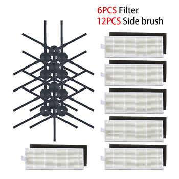 18Pcs/lot Robot vacuum cleaner Hepa filter for ilife A8 a40 a6 a4 a4s parts filter Side Brush danhui robot vacuum cleaner parts for ilife a40 accessories chuwi ilife a4s a40 robot vacuum cleaner parts kits replacement dust hepa filter main brush side brush