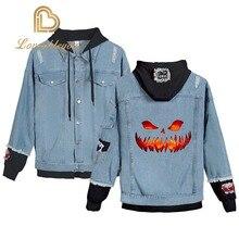 Jean Jacket Men Denim Jackets Halloweens Day Gifts Streetwear Tops Spring Anime Harajuku Hip Hop Clothing Coat