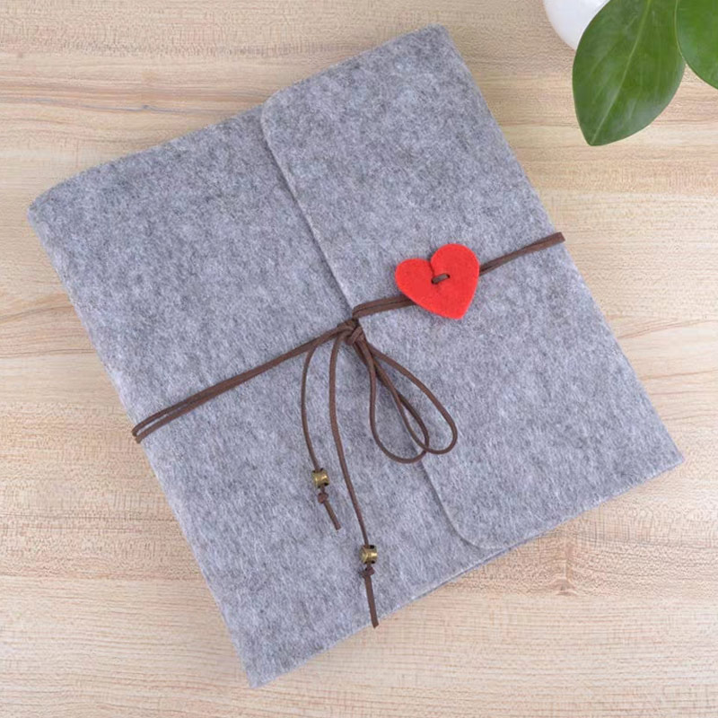 Travel Journal Felt Loose Leaf  Photo Album 4 Holes With Fill Inner Page Vintage Holder Portable  Diary  Handmade DIY  Scrapbook