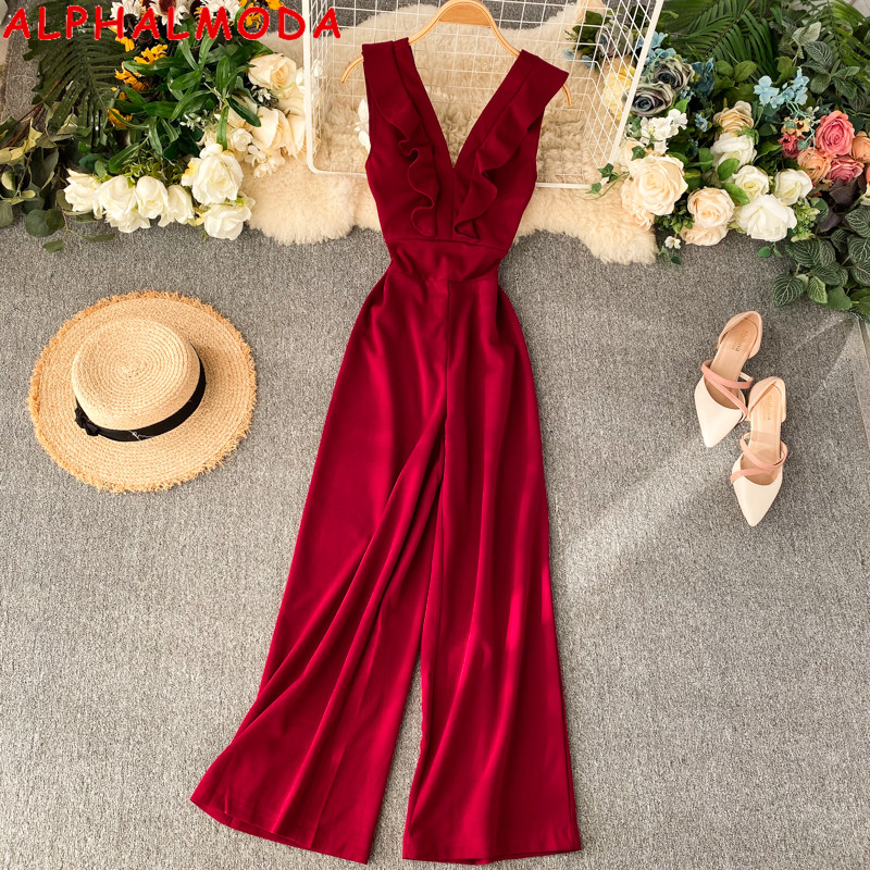 ALPHALMODA Women Deep-v Neck Sexy Elegant Jumpsuit 2019 Ruffled Neck Slim Waist Female Straight Summer Sleeveless Rompers