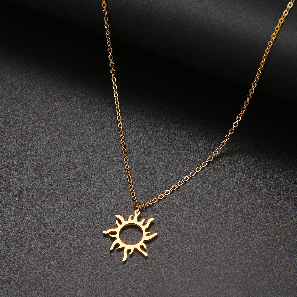DOTIFI 316L Stainless Steel Necklace Plated Ethnic Sun Totem Pendent Necklaces For Charm Women Birthday Party Fashion Jewelry