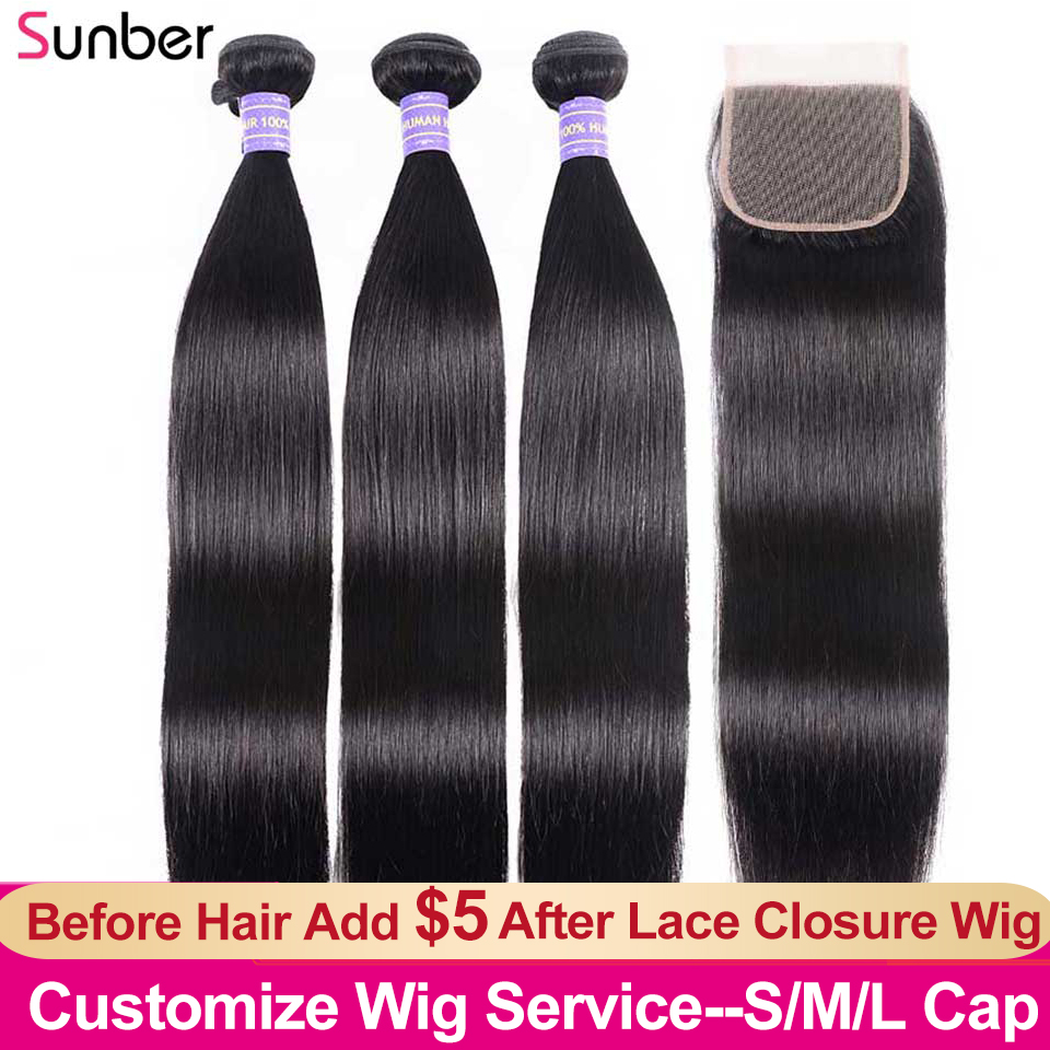 SUNBER HAIR High Ratio Remy Peruvian Straight Hair 3 Bundles With Closure 4x4 Inch Swiss Lace Add $5 Make The Lace Closure Wig