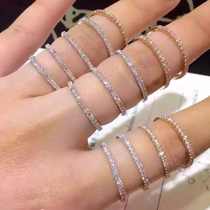 Simple Eternity Band Ring 925 Sterling Silver AAAAA Zircon Cz Wedding Band Rings For Women Bridal Statement Party Jewelry