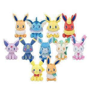 Summer Soda Pokemon Pikachu Eeveelution Eevee Plush Stuffed Dolls Sylveon Aquali Espeon Jolteon Vaporeon Toy Kids Gift SA1944