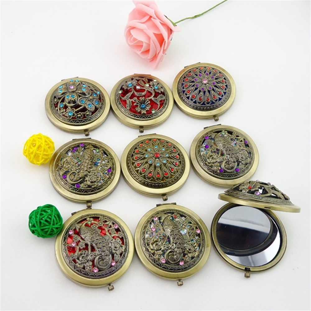 Mini miroir de maquillage multicolore en métal à fleurs, Portable, Portable, double face, miroir de maquillage, cosmétique Vintage, cadeau pour fête de mariage