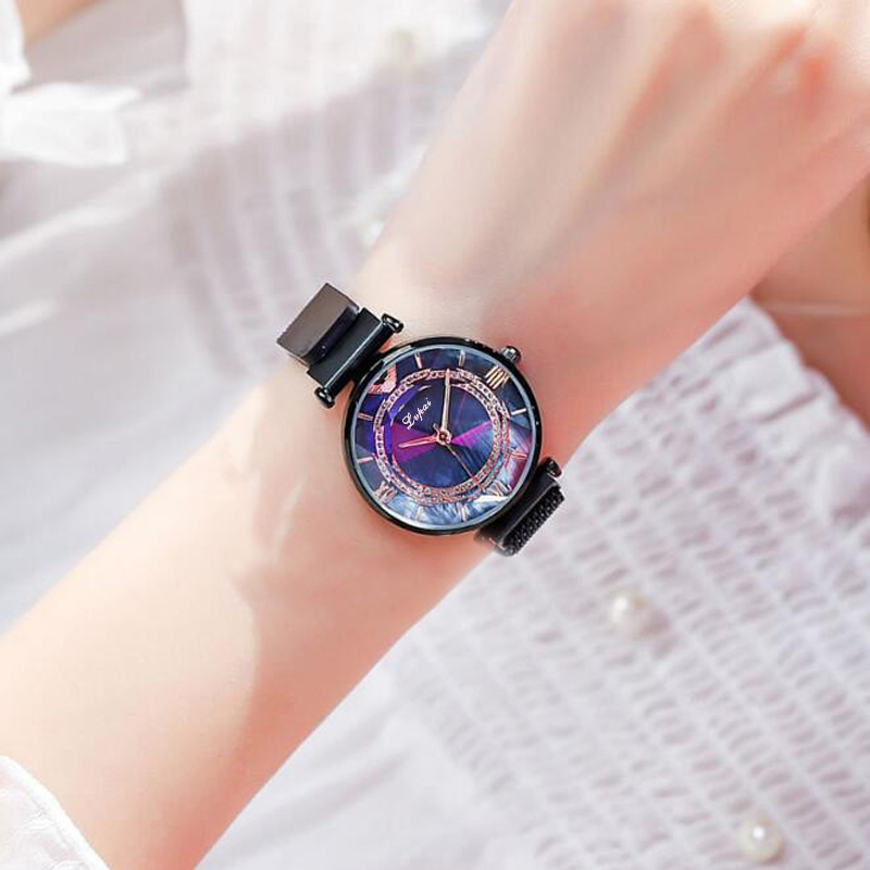 Luxury Gem Cut Flower Mirror Women Watches Magnet Mesh Band Rhinestones Quartz Wristwatch Female Diamond Watch zegarek damsk