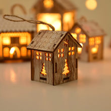 LED Light Wood Christmas goods decor Hollow House Cute Christmas Tree Hanging Ornaments Window Holiday New Year Decoration F1011(China)