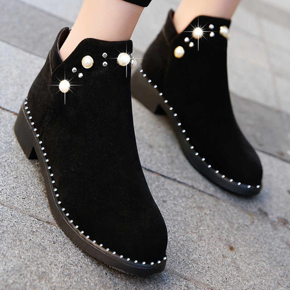 Martin Boots Shoes Female Pearl 2019 Autumn Winter Suede Flat Woman Shoes Casual Thick Heel Suede Zipper Boots Botines Mujer