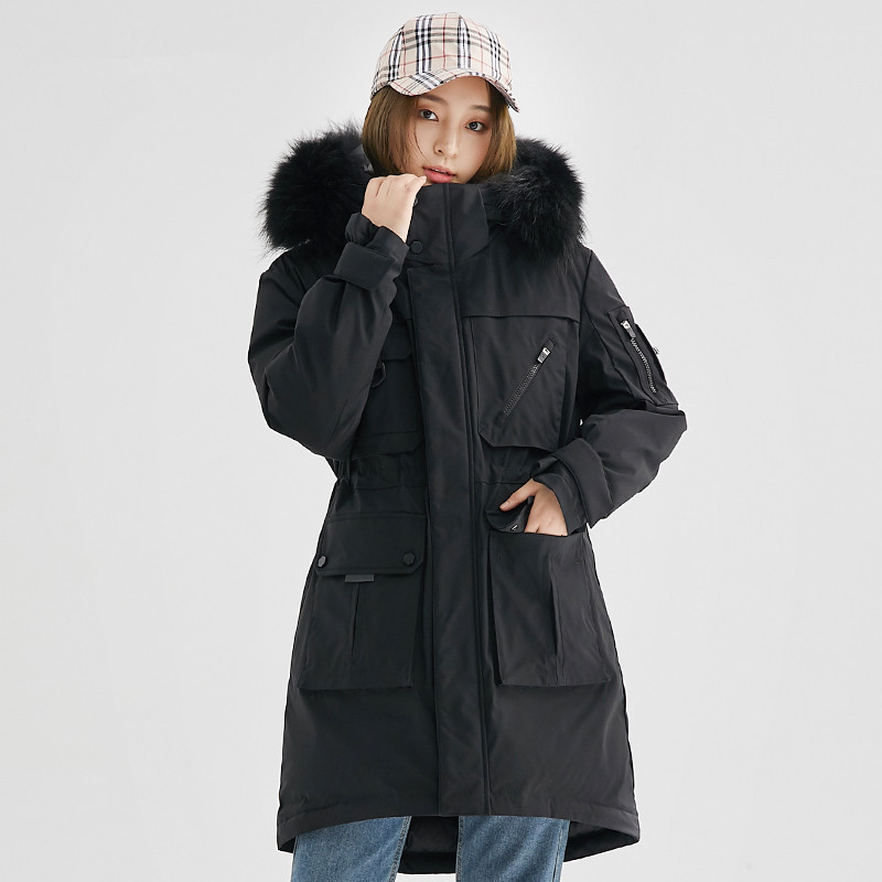 Women Clothes 2020 Down Jacket Woman Hooded Long Coats Winter Coat Women Raccoon Fur Collar Sport Parka Chaqueta MY1534
