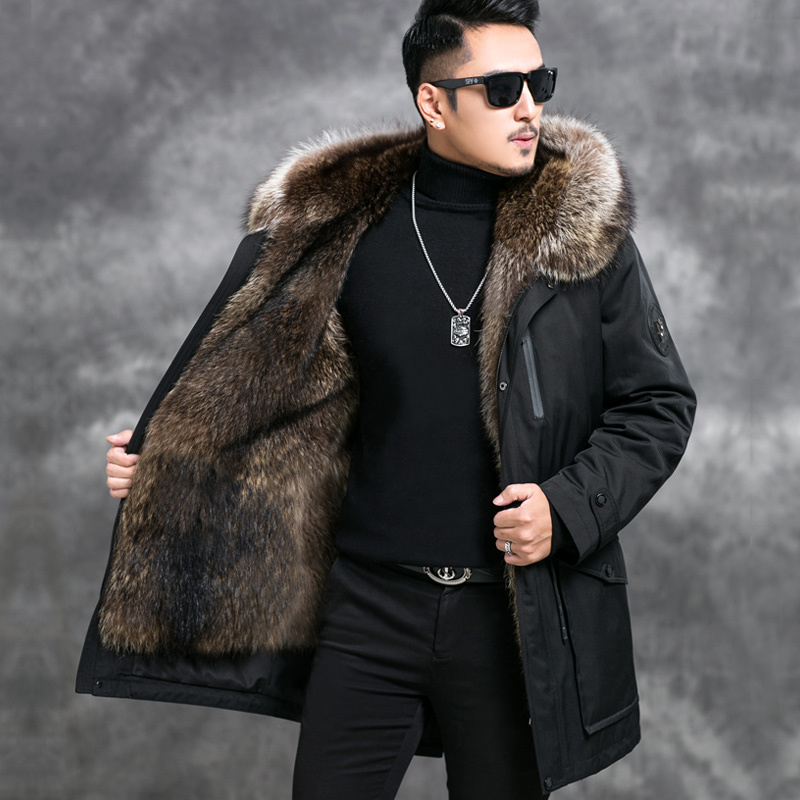 Real Fur Coat Winter Jacket Men Plus Size Natural Raccoon Fur Liner Parka Real Raccoon Fur Collar Jackets Warm Coat 4549 YY1014
