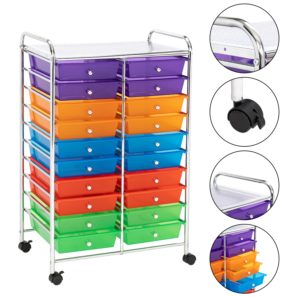 Salon Trolley 20 Drawer Organizer Cart Storage Box For Home Office School 4 Casters Removable Drawers Frame Shelf With Locks