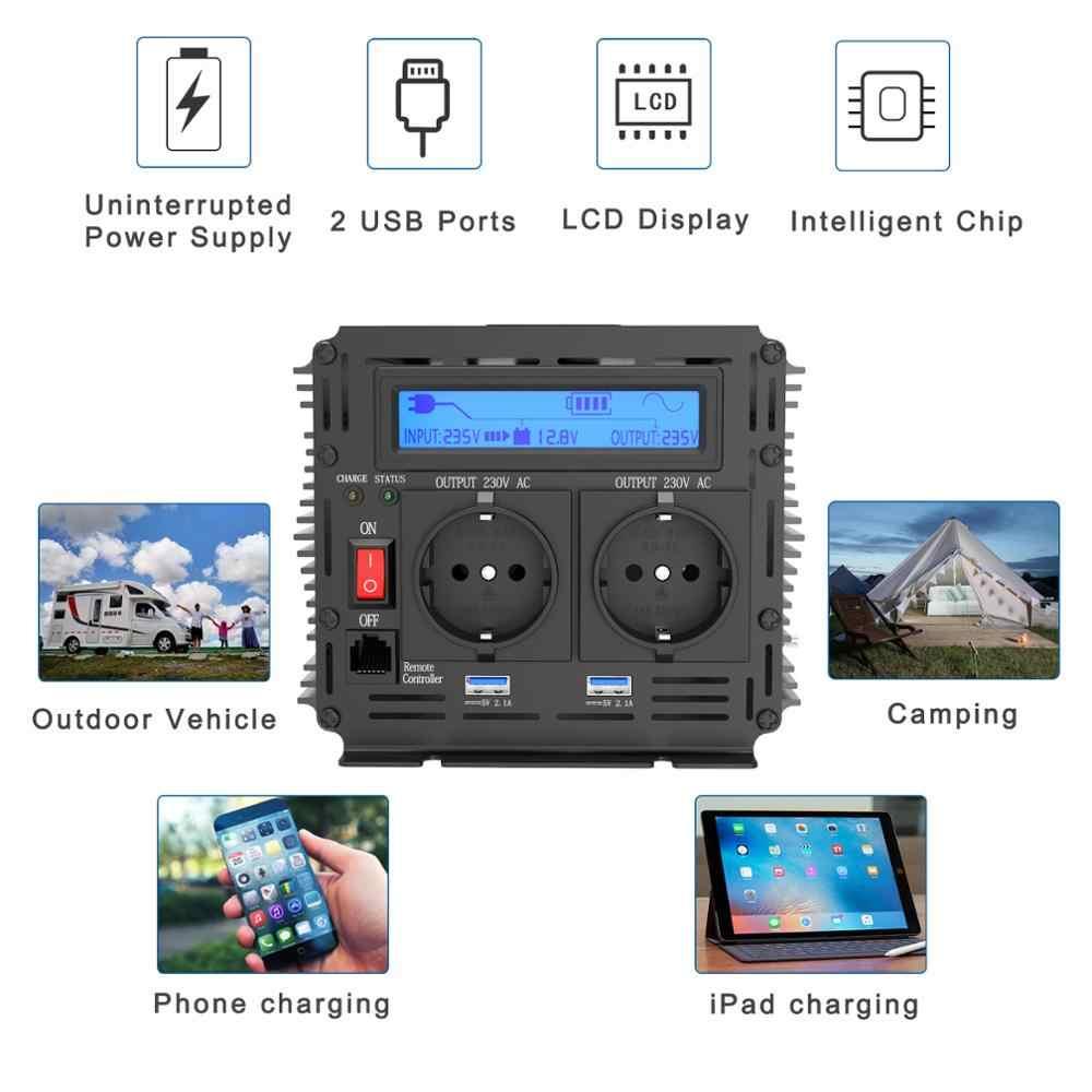 Falownik UPS czysta fala sinusoidalna 2500W DC 12v do AC 220v wyświetlacz LCD inwerter + ładowarka i UPS, cichy i szybki zasilacz