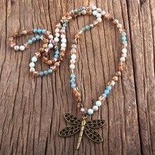 Rh moda boho jóias 6mm pedras naturais e vidro libélula pingente colar bohemai contas atadas colares para presente feminino