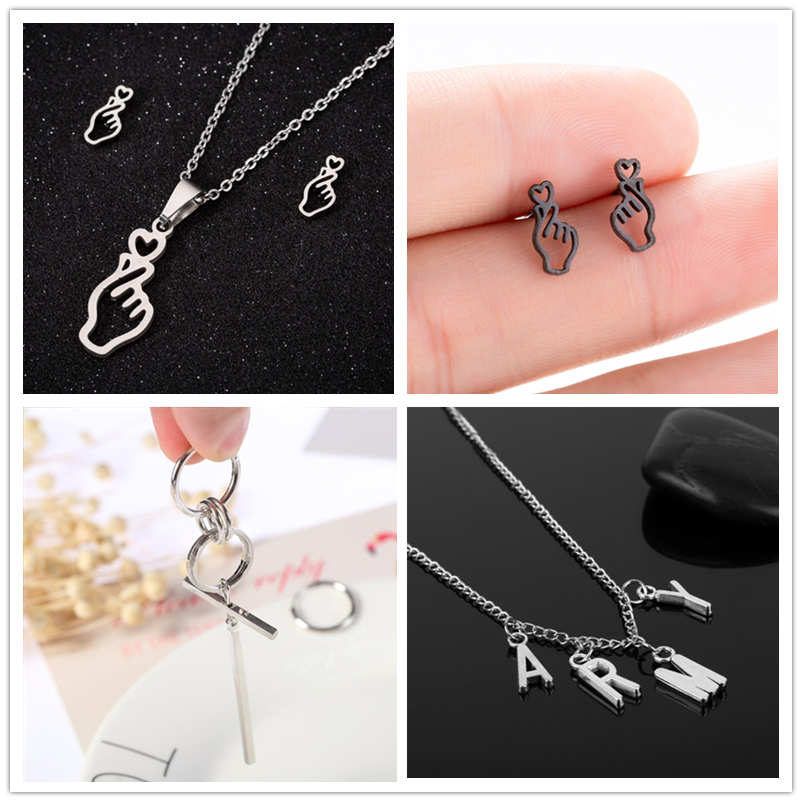 Hfarich Hot-Finger-Heart-Earrings Jewelry Chic Army Bangtnn Music Love-Letter Fashion Korean title=