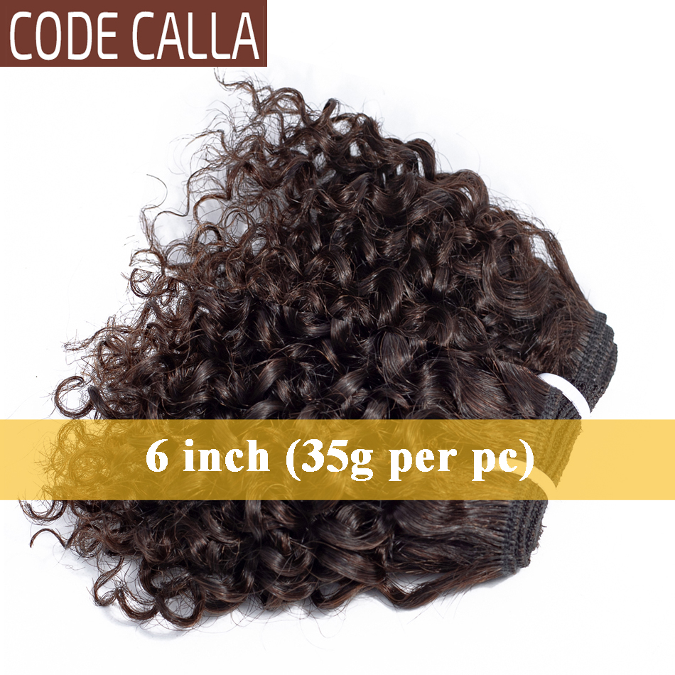 Short Kinky Curly Hair Weave Bundles CodeCalla Cheap Wholesale Price Indian Remy Human Hair Extensions Natural Black Brown Color 4