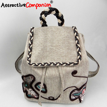 Fashion Ethnic Women Handmade Backpack Canvas Featured Cotton Thread Chain Embroidery Bagpack Girl Christmas Gift Grace Hand Bag
