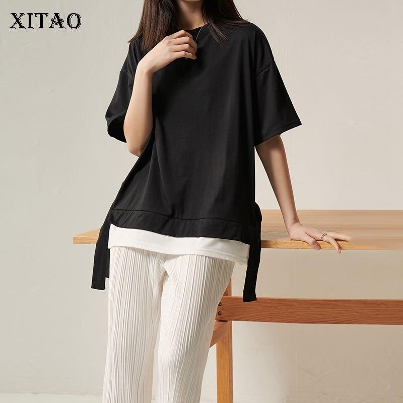 Xitao estilo coreano falso duas peças fita t camisa solta mais tamanho selvagem feminino topos moda roupas femininas 2020 primavera nova dmy4273