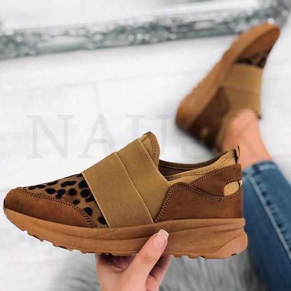 Thương Hiệu Giày Nữ Giày Thoáng Khí Thiết Kế Mới 2020 Áo Nền Tảng Đế Xuồng Thời Trang Giày Sneaker Da Báo Flat 35-43