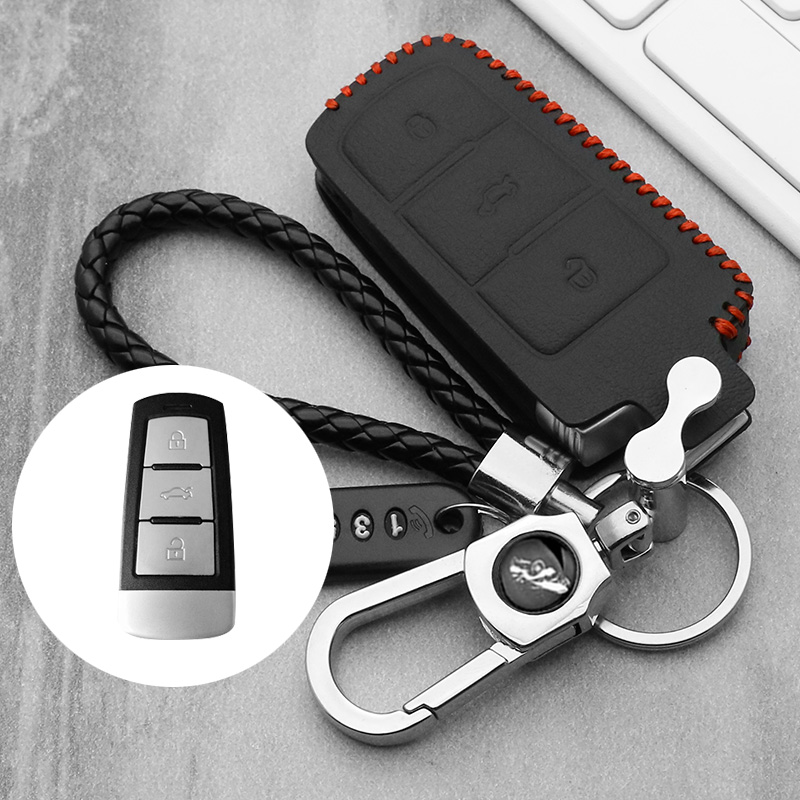 Genuine Leather Car Key Cover Case For Volkswagen Golf 4 5 6 7 MK7 Passat CC Passat B6 B7 B8 Passat 3C CC Magotan R36 B5 B7L