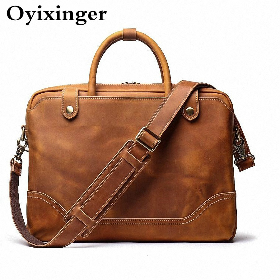 High Quality Men Business Briefcase Crazy Horse Genuine Leather Handbag Male 15.6 Inches Laptop Bags Bandolera Hombre Sac Homme