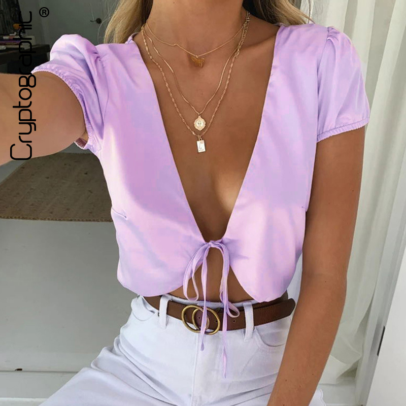 Cryptographic Satin Silk Sexy V-Neck Crop Top and Blouse Shirts Women Fashion Summer Shirt Sexy Thin Shirt Blouses Solid