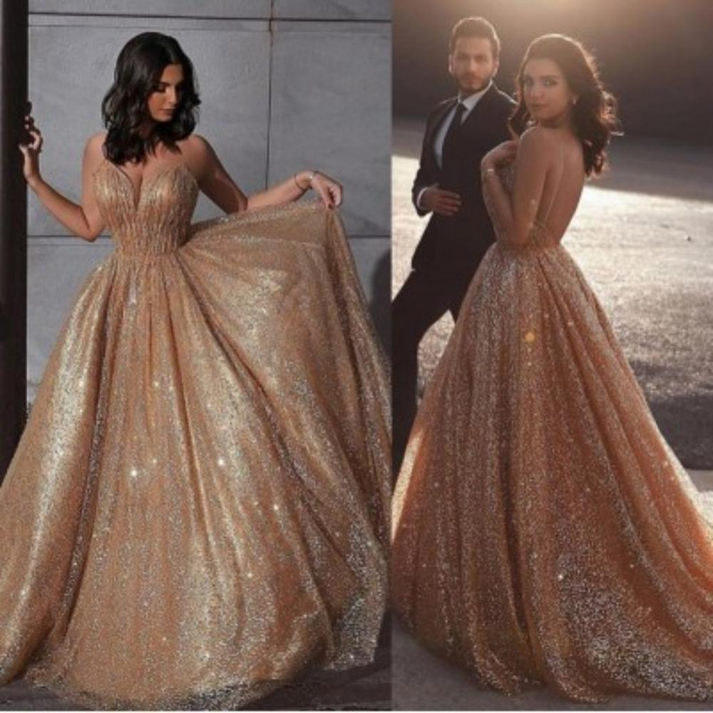 A Line Sequins Long Prom Dresses V Neck Backless Bling Bling Vestidos De Fiesta De Noche Largos Elegantes Prom Dress ESAN227