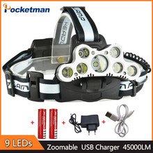 8000LM 80W 9Leds Super Bright XM-L T6 head lamp Flashlight Torch head light with rechargeable 18650 battery Camping With USB