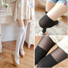 Autumn Japan Women Fake Splicing Silk Stockings Lolita Cosplay Velvet False Legs Prevent Snagging Tight TuiWa
