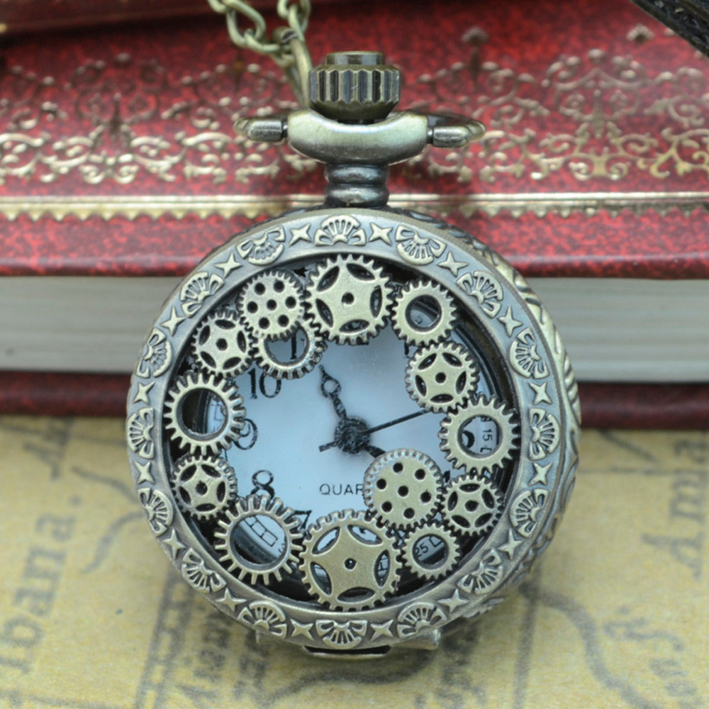 Vintage Steampunk Retro Bronze Design Pocket Watch Quartz Pendant Necklace Gift Watch Clock Wholesale Relogio De Bolso #4O23