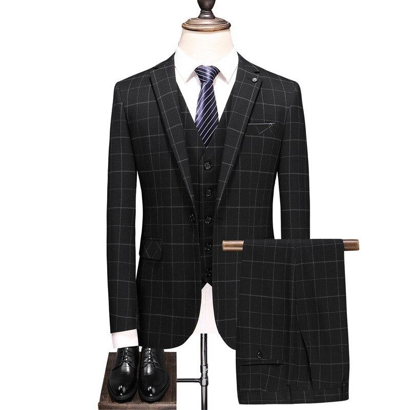 Men's suit fashion classic black plaid men's business casual suit 3 piece set (jacket + pants + vest) banquet party dress