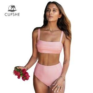 Image 3 - CUPSHE Süße Solide Rosa Krawatte Zurück High Taille Bandeau Bikini Sets Sexy Badeanzug Zwei Stück Bademode Frauen Strand Bade anzüge
