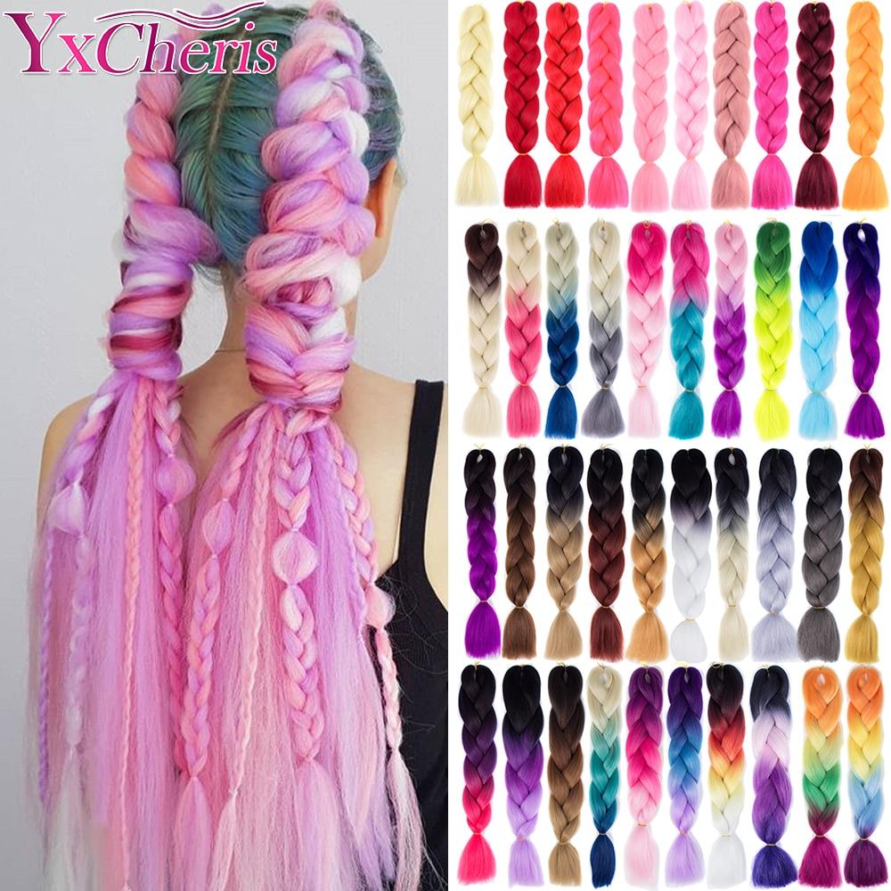 Hair Braid Synthetic Crochet Hair Extensions Jumbo False Braid Ombre Braiding Hair Pink Grey Blue Color Dreadlocks Kanekalon