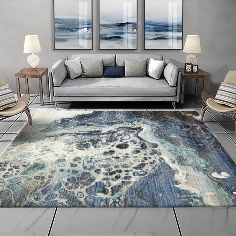 Modern Abstract Large Area Rugs Blue Sea Water Carpets Living Room