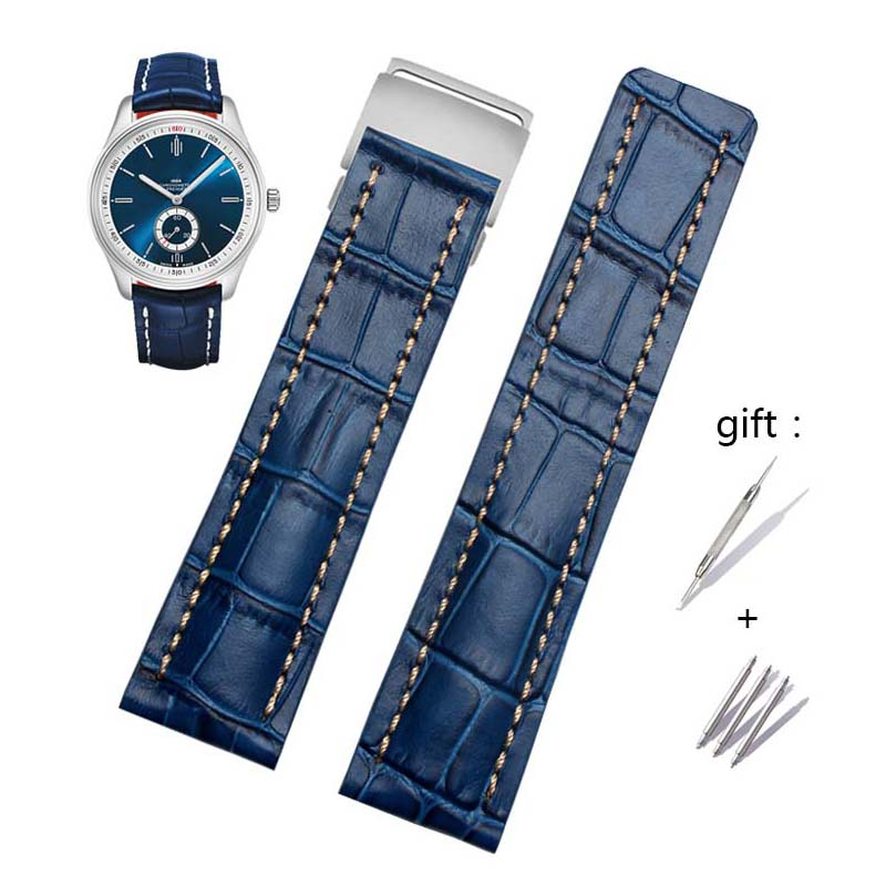 22mm 24mm High Quality Genuine Leather Strap Watch Band For Breitling Mens Watch Cow Leather Bracelet With Deployment Buckle