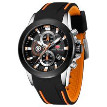 Męskie zegarki klasyczne estetyczne wzornictwo męskie zegarki sportowe wodoodporne zegarki ze stali nierdzewnej męskie zegarki kwarcowe Relogio Masculino tanie tanio MINIFOCUS QUARTZ Klamra Stop 3Bar Moda casual 47mm Silikon 24 5cm Hardlex 13 9mm ROUND Chronograph Kompletna kalendarz