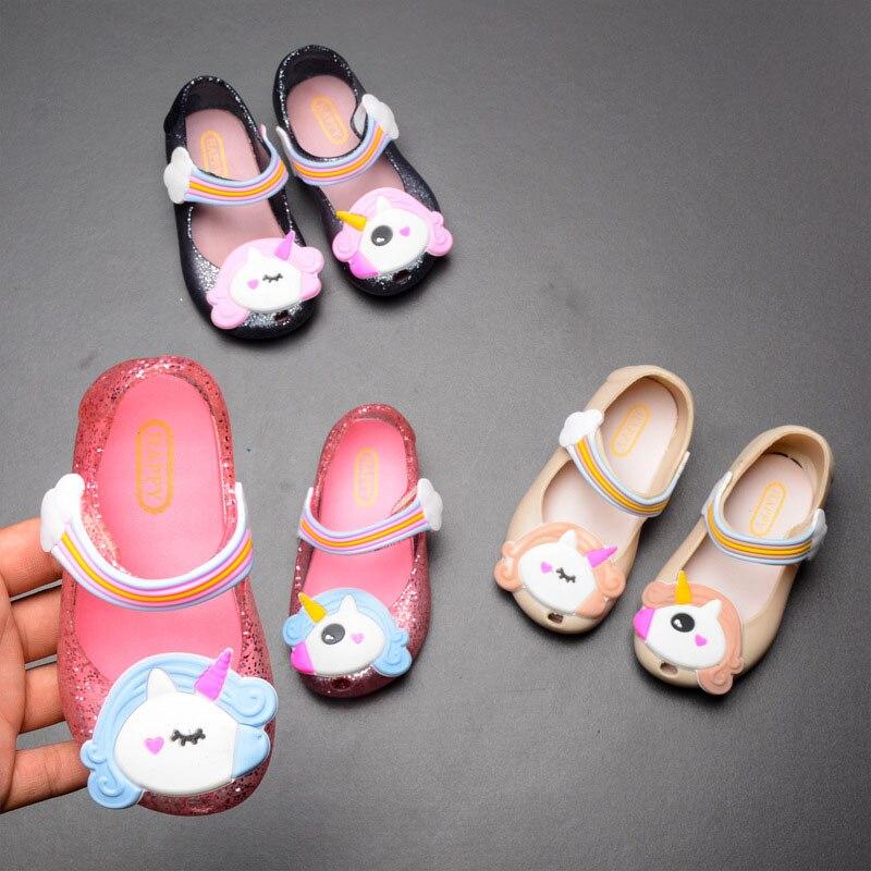 2019 New 3 Colors Kids Shoes Sandals Baby Rainbow Unicorn Children Girl Princess Shoes Cute Cartoon Soft Beach Baby Girls Shoes