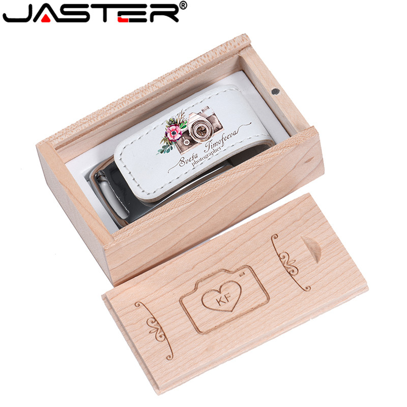 JASTER Custom Company Logo Usb 2.0 Flash Pen Drive 64GB 32GB 4GB 8GB 16GB Pendrive Leather Usb+Box (over 1 Pcs Free Logo)