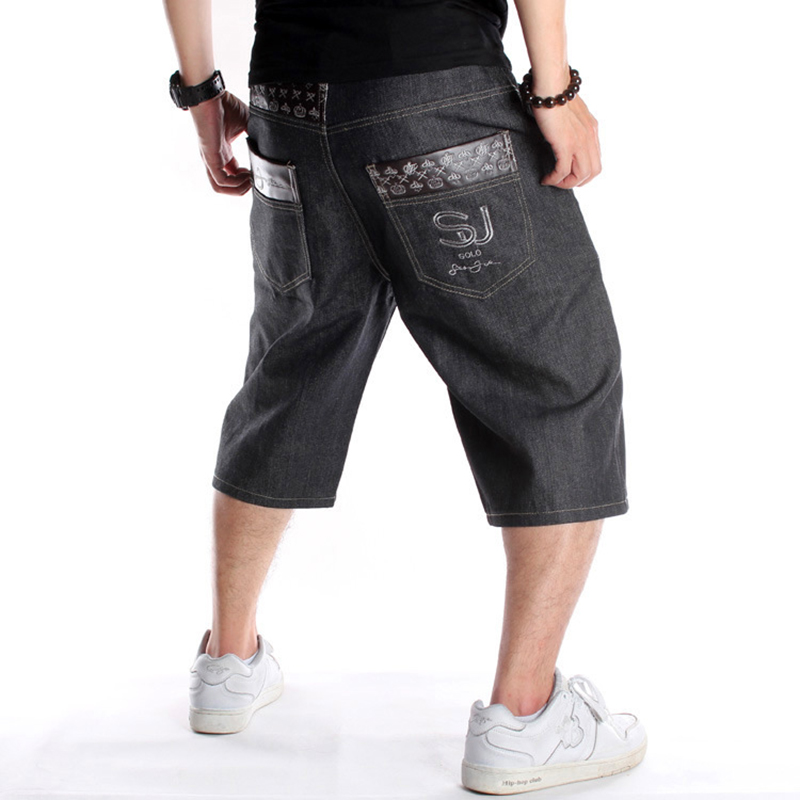 Summer Plus Size 30-46 Wide Leg Hip-Hop Black Jeans Shorts Male Skateboard Swag Baggy Men Capri Denim Pants