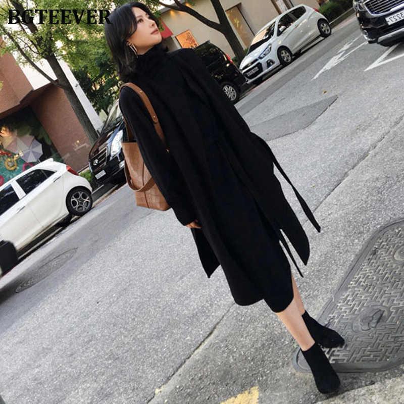 ผู้หญิงเสื้อคอเต่าแขนยาว Sashes ผู้หญิงถัก Vestidos ยาวหลวมหญิงชุดถัก 2019 ฤดูใบไม้ร่วงฤดูหนาว