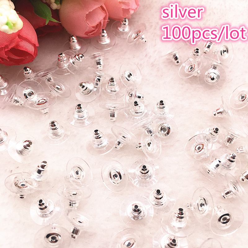 NEW 100pcs/lot 11mm Earrings Silicone Barrel Bullet Plastic Ear Plugging DIY Earring Black For Jewelry Findings