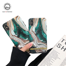 For IPhone 6 7 8 Plus Glossy Dark Green Marble Phone Case X XS 6s Black Ultra-thin Soft TPU Cover