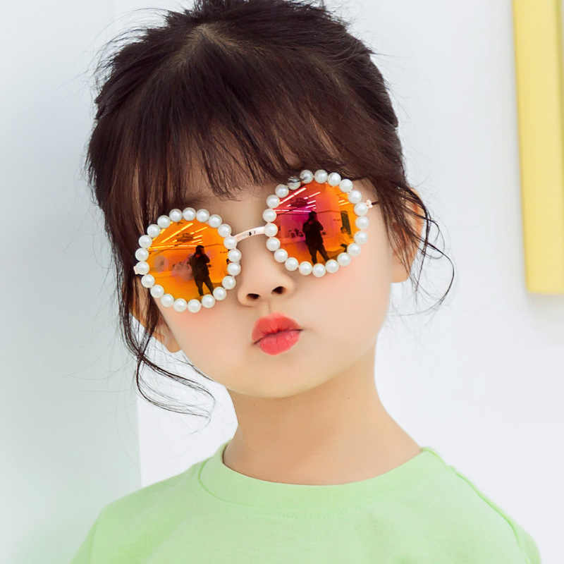 Saalising Personality Pearl Oval Childrens Sunglasses Plastic Mirror Frame Safety Material Sunglasses Girl Baby Sunglasses 3 to 12 Years Old Color : A